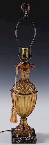 Vintage Amber Glass & Marble Table Lamp