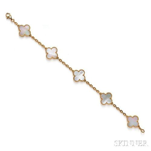 "18kt Gold and Mother-of-pearl ""Alhambra"" Bracelet, Van Cleef & Arpels"