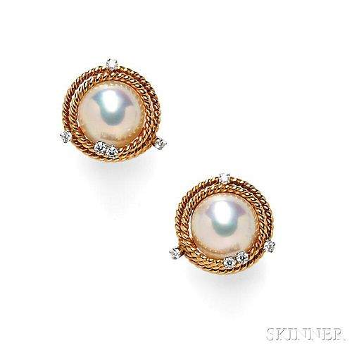 Mabe Pearl and Diamond Earclips, Schlumberger, Tiffany & Co.