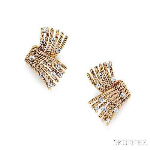 "18kt Gold, Platinum, and Diamond ""V-Rope"" Earclips, Schlumberger, Tiffany & Co."