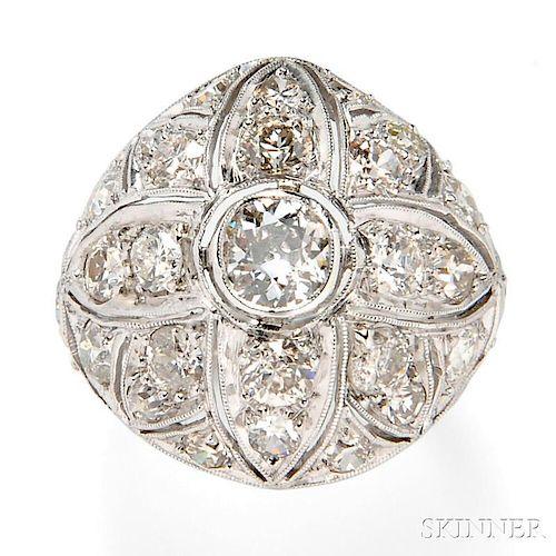 Art Deco Platinum and Diamond Dome Ring
