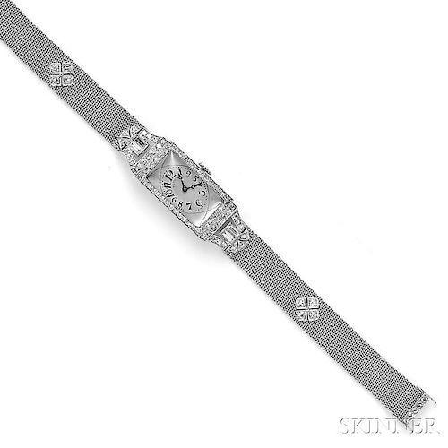Art Deco Platinum and Diamond Wristwatch, Touchon