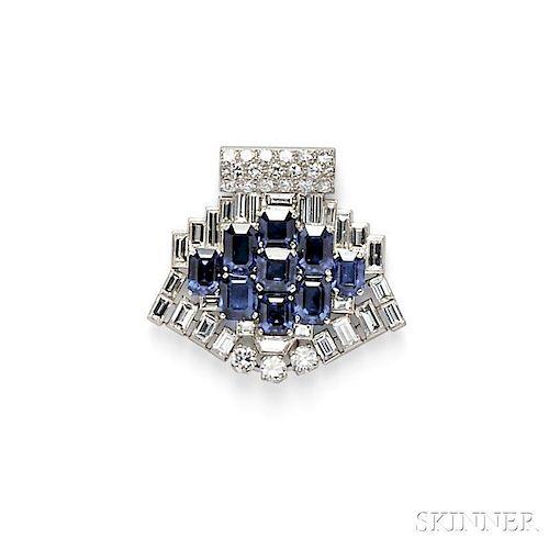 Platinum, Sapphire, and Diamond Clip Brooch