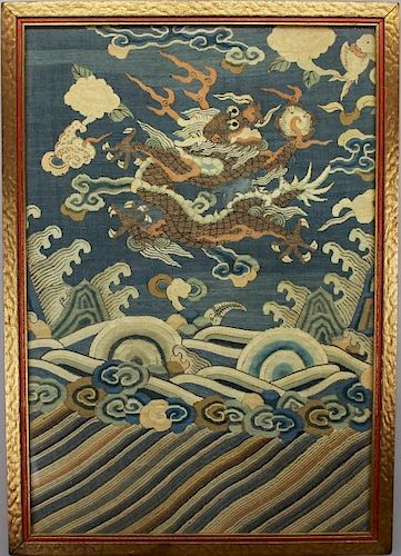 Imperial 5 Claw Dragon Chinese Kesi Embroidery