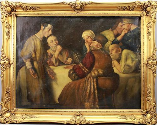 19th C. Signed Judaica Painting with figures