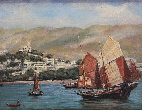 Signed 20th C. European Harbor Scene