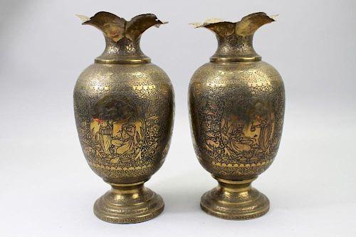 (2) Antique Islamic Incised Brass Vases