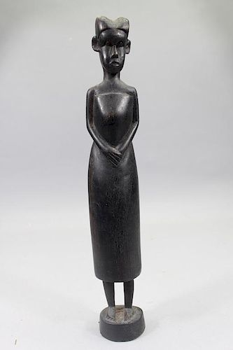 Antique Carved African Baule Woman Figure