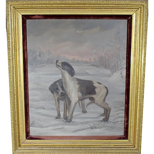 Large Antique Oil/Canvas, Hunting Dogs in Winter