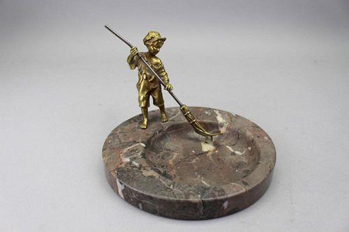 Antique Bronze Boy w/ Broom, Marble Base