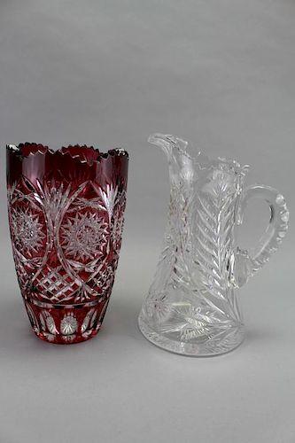 (2) Misc. Cut Glass Pieces