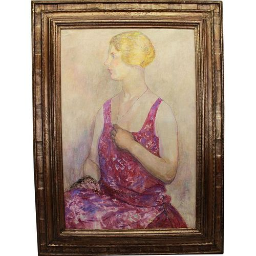 Signed 20th C. Portrait of a Young Woman
