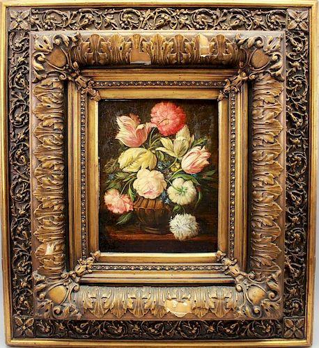 Still Life Painting in Antique Gilt Frame