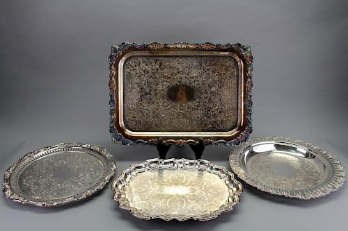 (4) Silver Plate Serving Trays