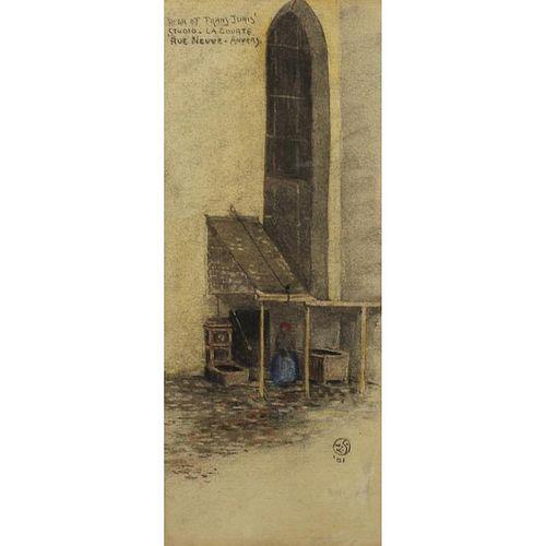 19th C. Signed w/c of Rear of Frans Joris Studio