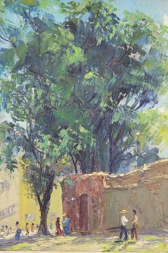 Signed 20th C. Oil/Canvas Figures under a tree