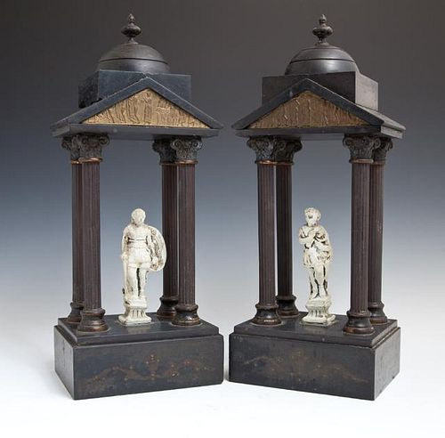 Pair of Black Marble and Patinated Spelter Garnitu