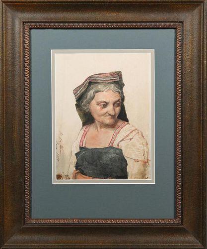 """Rinaldo Werner (1842-1922), """"Roman Woman,"""" 1870, w"""