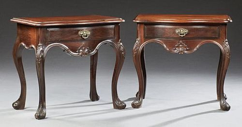 Pair of Louis XV Style Carved Mahogany Nightstands