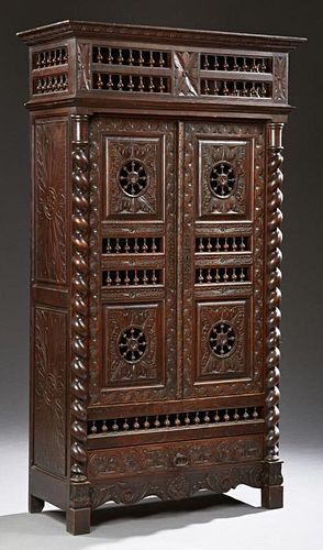 French Provincial Carved Oak Armoire, 19th c., Bri