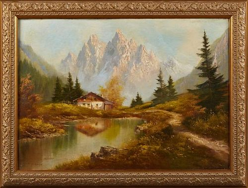 """T. Hubner, """"Swiss Landscape with Lake,"""" 20th c., o"""
