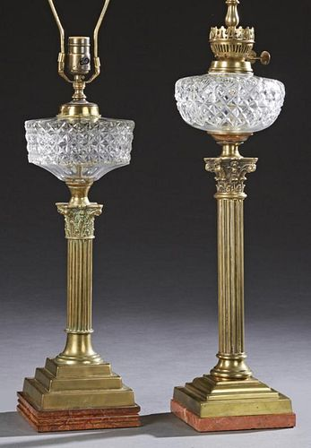 Two English Cut Glass Oil Lamps, 19th c., both wit