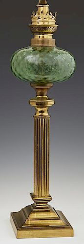 English Brass Oil Lamp, 19th c., the green glass f