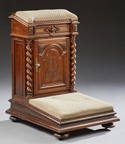 Unusual French Carved Walnut Prie Dieu, late 19th