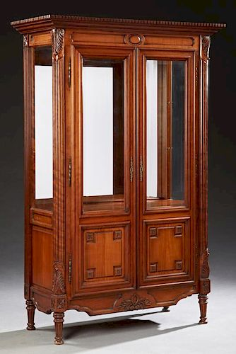 Louis XVI Style Carved Cherry Vitrine, 20th c., th