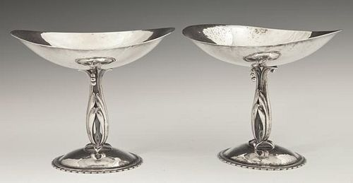 Pair of Arts and Crafts Sterling Compotes, by Cell