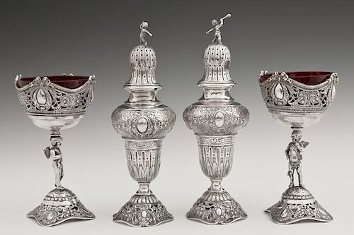 Group of Four German .800 Silver Table Articles, l