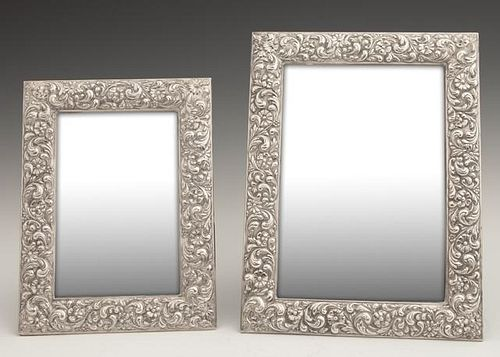 Two Sterling Silver Easel Picture Frames, 20th c.,