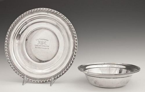 Two Sterling Presentation Pieces, one a bowl by Go