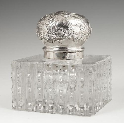 Sterling Top Cut Glass Inkwell, early 20th c., the