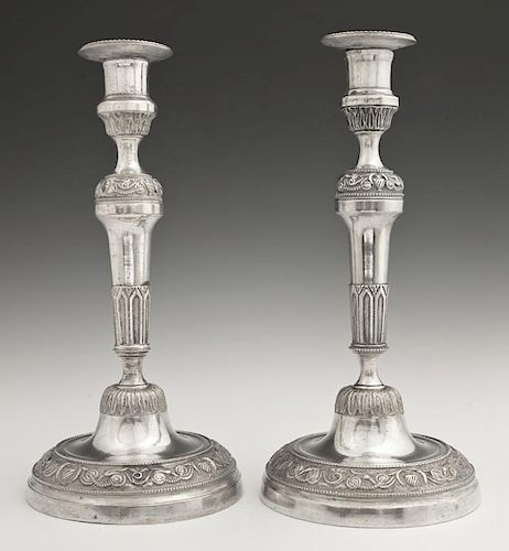 Pair of French Empire Style Silvered Bronze Candle