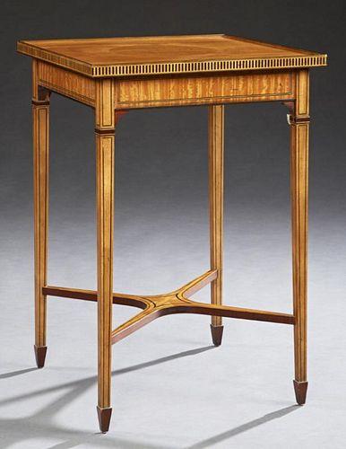 Inlaid Satinwood Mahogany Lamp Table, 20th c., by