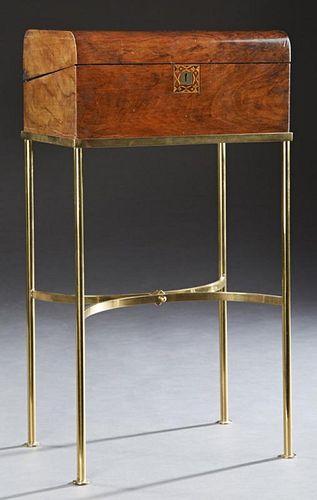 English Parquetry Inlaid Walnut Lap Desk, c. 1800,
