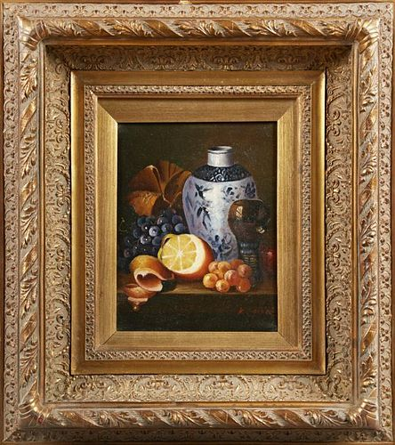 """Chinese School, """"Still Life of Fruit and a Jug and"""