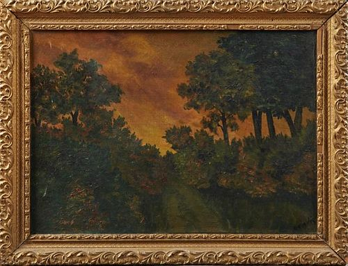 """Belle Vegu, """"Landscape,"""" early 20th c., oil on can"""