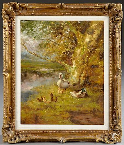 """T. Wouverman, """"Family of Ducks,"""" 20th c., oil on c"""