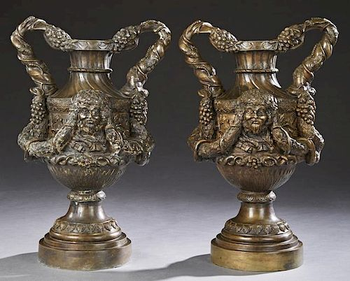 Pair of Patinated Bronze Baluster Bacchus Urns, 20