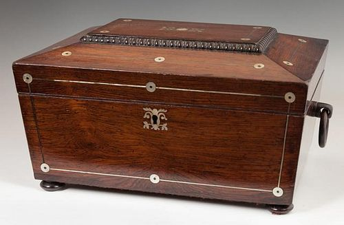 English Carved Rosewood Sarcophagus Form Inlaid Ca