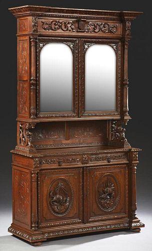 French Henri II Carved Oak Buffet a Deux Corps, 19