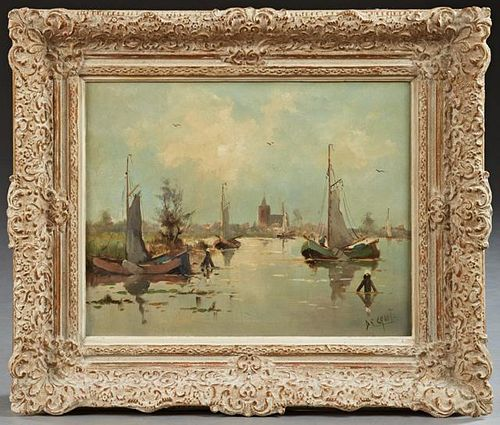 "De Groot, ""Dutch Harbor Scene,"" late 19th c., oil"