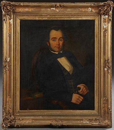 """English School, """"Portrait of a Gentleman,"""" 1852, o"""