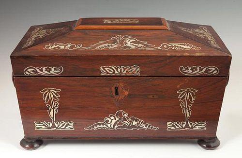 English Mother-of-Pearl Inlaid Rosewood Sarcophagu