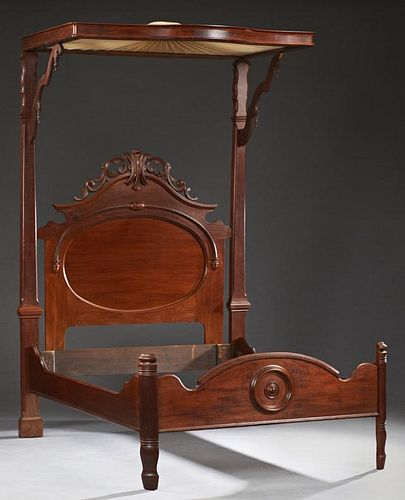 American Victorian Carved Walnut Half Tester Bed,