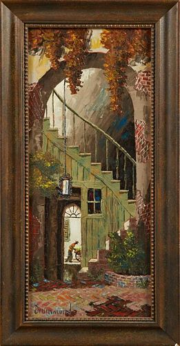 """Drummond, """"French Quarter Patio,"""" 20th c., oil on"""