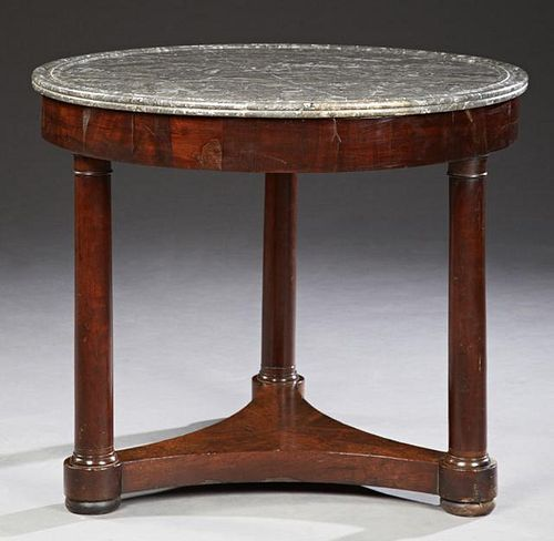 French Empire Style Carved Mahogany Marble Top Cen