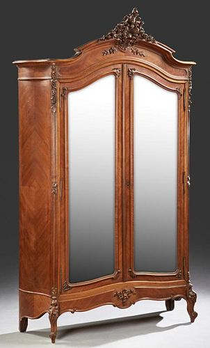 Louis XV Style Carved Mahogany Armoire, c. 1900, t